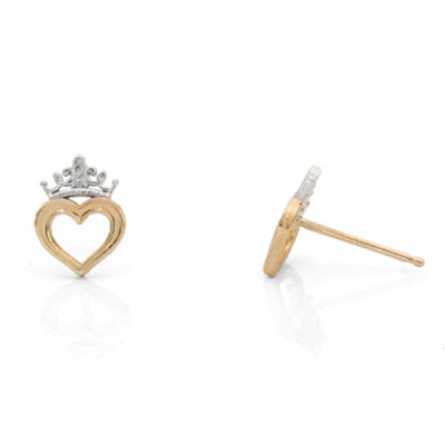 Disney 14K Gold 8.6mm Heart Stud Earrings