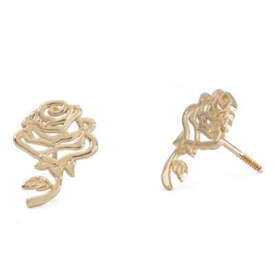Disney 14K Gold 10.2mm Flower Stud Earrings