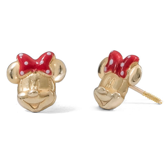 Disney Collection 14K Gold 8mm Minnie Mouse Stud Earrings