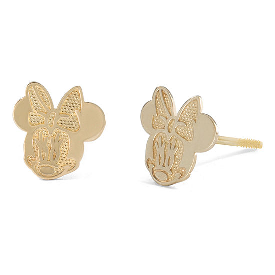 Disney Collection 14K Gold 7.7mm Minnie Mouse Stud Earrings