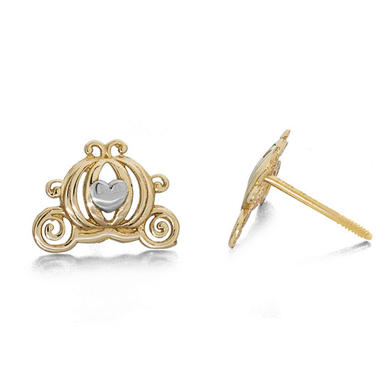 Disney Collection 14K Gold 7.2mm Cinderella Stud Earrings