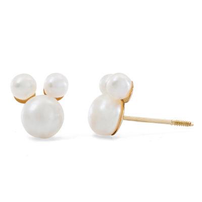 Disney White 14K Gold 7.6mm Mickey Mouse Stud Earrings