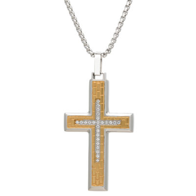 Mens Clear Cubic Zirconia Stainless Steel Cross Pendant Necklace