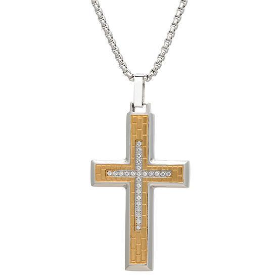 Mens Cubic Zirconia Stainless Steel Cross Pendant Necklace