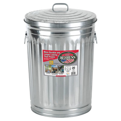 Behrens High Grade Steel 1211 20 Gal Silver Galvanized Steel Trash Can W/Lid