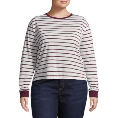 Arizona Long Sleeve Round Neck Stripe T-Shirt-Womens Juniors Plus