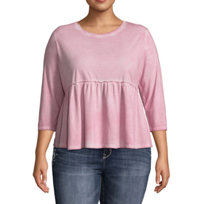 Arizona 3/4 Sleeve Round Neck Knit Blouse-Juniors Plus