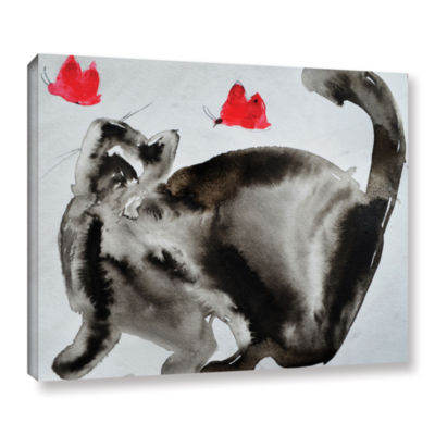 Brushstone Cat Butterfly Chase Gallery Wrapped Canvas Wall Art