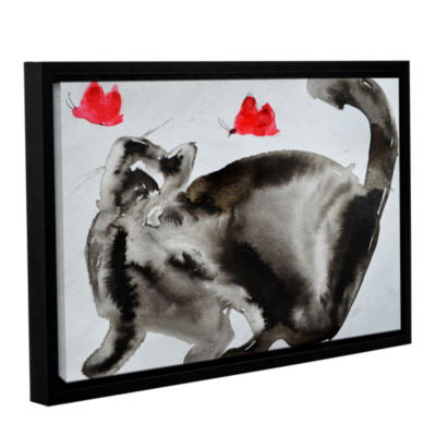 Brushstone Cat Butterfly Chase Gallery Wrapped Floater-Framed Canvas Wall Art