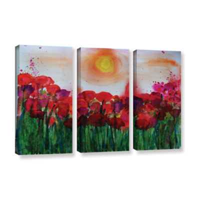 Brushstone Poppies 2 3-pc. Gallery Wrapped CanvasWall Art