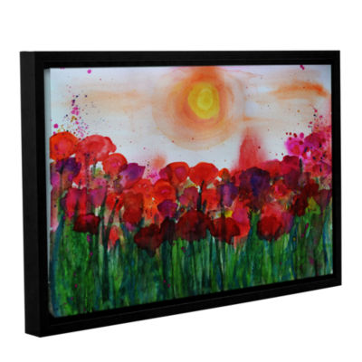 Brushstone Poppies 2 Gallery Wrapped Floater-Framed Canvas Wall Art