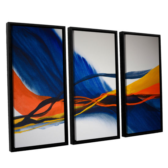 Brushstone Blue Wave 3-pc. Floater Framed Canvas Wall Art