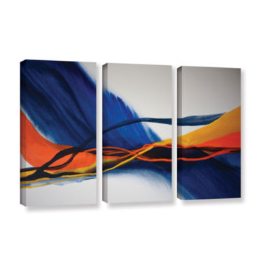 Brushstone Blue Wave 3-pc. Gallery Wrapped CanvasWall Art