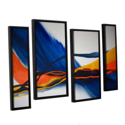Brushstone Blue Wave 4-pc. Floater Framed Staggered Canvas Wall Art