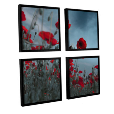 Brushstone Hot Cold Contrast 4-pc. Square FloaterFramed Canvas