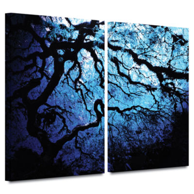 Brushstone Ice Blue Eve-Japanese Tree 2-pc. Gallery Wrapped Canvas Wall Art