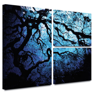 Brushstone Ice Blue Eve-Japanese Tree 3-pc. Flag Gallery Wrapped Canvas Wall Art