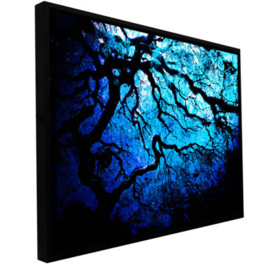 Brushstone Ice Blue Eve-Japanese Tree Gallery Wrapped Floater-Framed Canvas Wall Art
