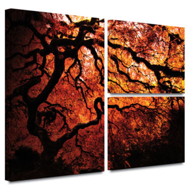 Brushstone Japanese Tree 3-pc. Flag Gallery Wrapped Canvas Wall Art