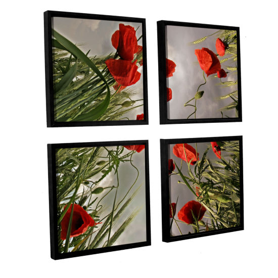 Brushstone Square Composition With Poppies 4-pc. Square Floater Framed Canvas