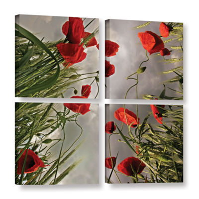 Brushstone Square Composition With Poppies 4-pc. Square Gallery Wrapped Canvas