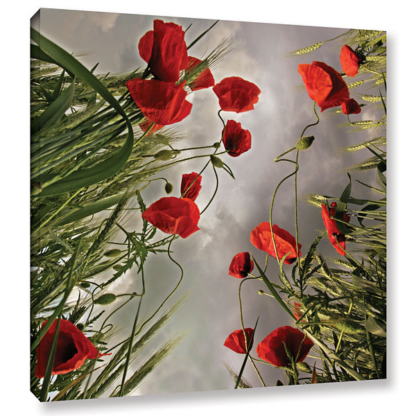 Brushstone Square Composition With Poppies GalleryWrapped Canvas Wall Art