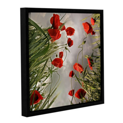 Brushstone Square Composition With Poppies GalleryWrapped Floater-Framed Canvas Wall Art