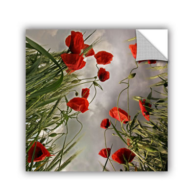Brushstone Square Composition With Poppies Removable Wall Decal