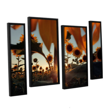 Brushstone Sunflower Field 4-pc. Floater Framed Staggered Canvas Wall Art