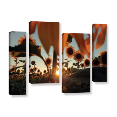Brushstone Sunflower Field 4-pc. Gallery Wrapped Staggered Canvas Wall Art