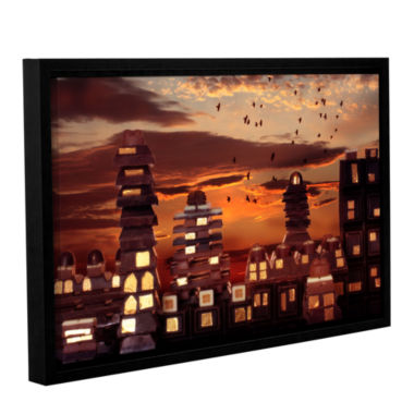 Brushstone Sweet Cityscape Gallery Wrapped Floater-Framed Canvas Wall Art