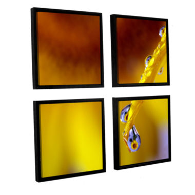 Brushstone Sunflower In A Drop 4-pc. Square Floater Framed Canvas