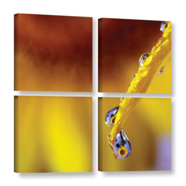 Brushstone Sunflower In A Drop 4-pc. Square Gallery Wrapped Canvas