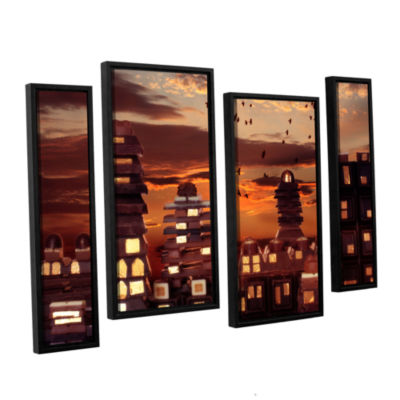 Brushstone Sweet Cityscape 4-pc. Floater Framed Staggered Canvas Wall Art