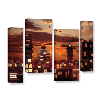 Brushstone Sweet Cityscape 4-pc. Gallery Wrapped Staggered Canvas Wall Art