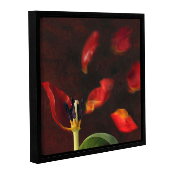 Brushstone Tulip And Windy Mood Gallery Wrapped Floater-Framed Canvas Wall Art