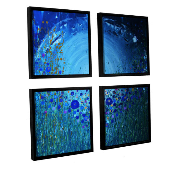 Brushstone Moon Poppies 4-pc. Floater Framed Canvas Square