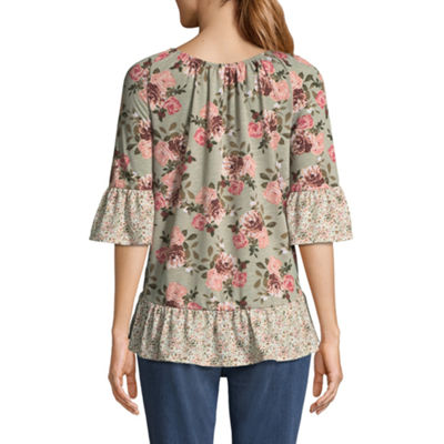 Como Blu Elbow Sleeve Crew Neck Ruffled Blouse