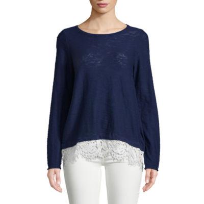 John Paul Richard Long Sleeve Lace Trim Pullover Sweater
