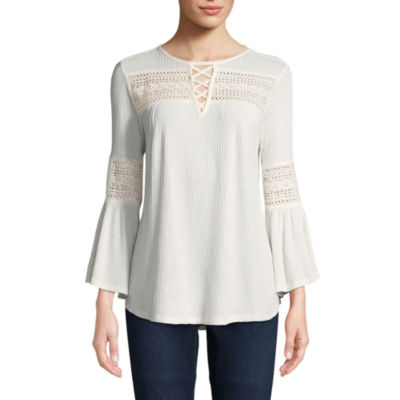 John Paul Richard Bell Sleeve Lace Up Knit Blouse
