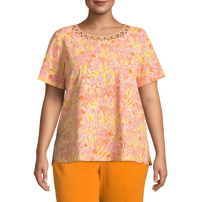 Alfred Dunner Still My Sunshine Coral Reef T-Shirt- Plus