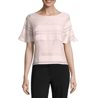 Liz Claiborne Short Sleeve Round Neck Woven Blouse - Tall