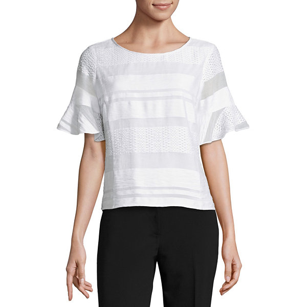 Liz Claiborne Short Sleeve Round Neck Woven Blouse - Tall