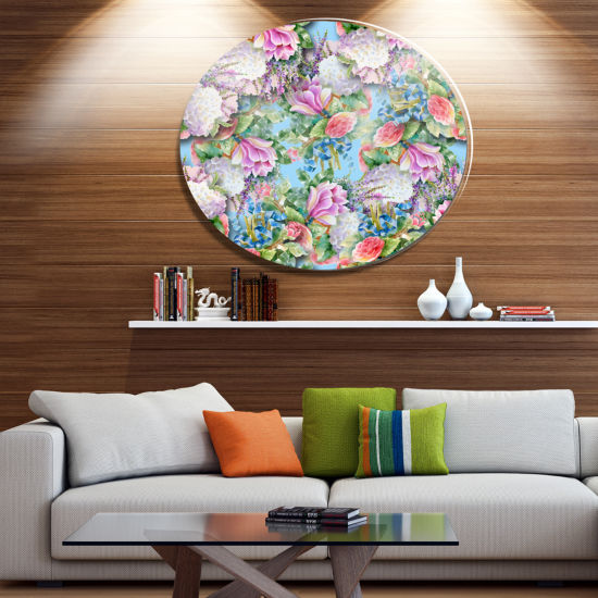 Designart Pink Flower Pattern on Blue Disc FloralMetal Circle Wall Art
