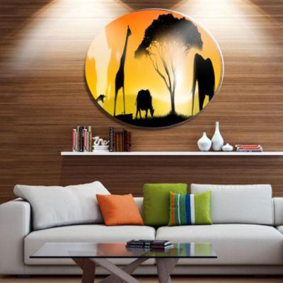 Designart African Wildlife PanoramaAfrican MetalCircle Wall Art