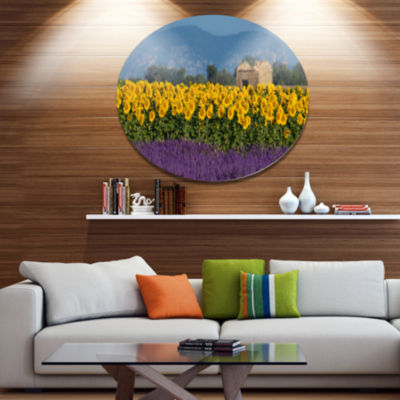 Designart Lavender and Sunflower in Provence DiscFloral Metal Circle Wall Art