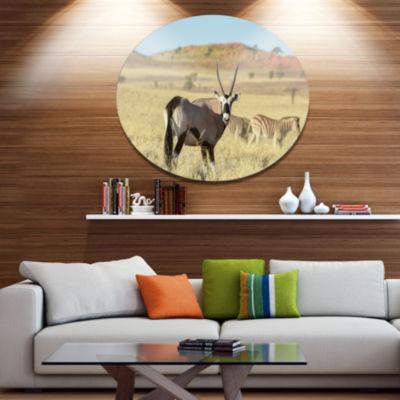 Designart Wildlife in Namibia GrasslandAfrican Metal Circle Wall Art