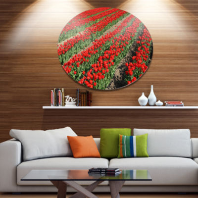 Designart Rows of Red Tulip Flowers Disc Floral Metal Circle Wall Art