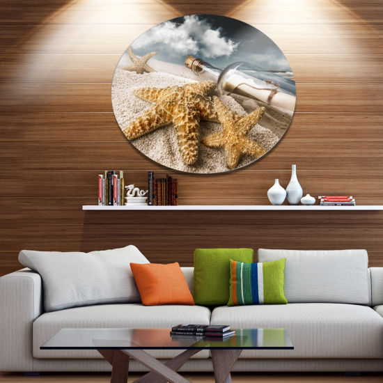 Designart Message Bottle Buried in Sand Disc Seascape Metal Circle Wall Art