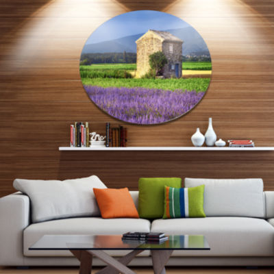 Designart House in the Lavender Field Disc Landscape Metal Circle Wall Art